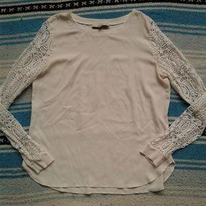 Loft Shirt Blouse Lace Sleeves Cream White Medium